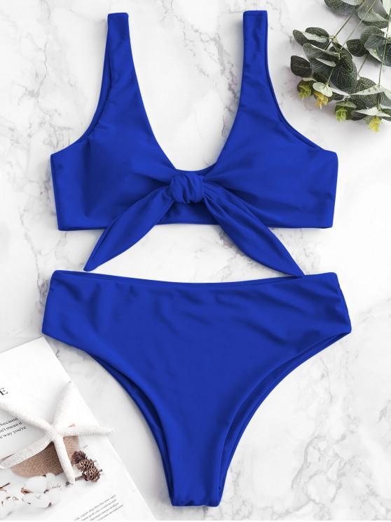 unique ZAFUL Tie Front Padded Bikini Set - COBALT BLUE S