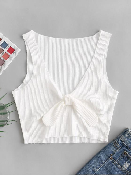 latest Lettuce Trim Knotted Crop Tank Top - WHITE S