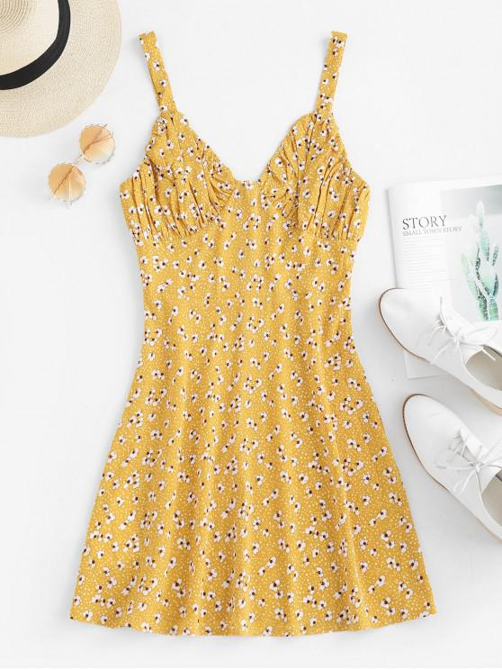 trendy ZAFUL Ruched Floral Sundress - GOLDENROD L