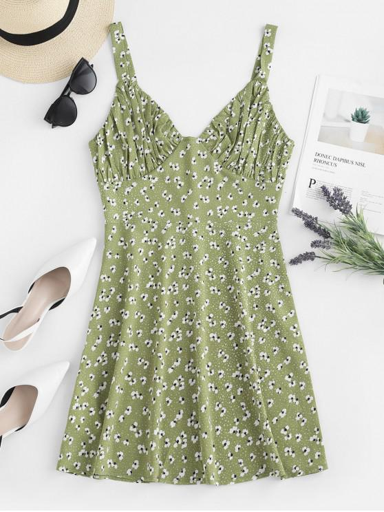 women's ZAFUL Ruched Floral Sundress - GREEN PEAS S