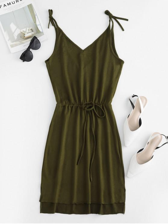 outfit Slits Tie Straps Knotted Solid Dress - GREEN M
