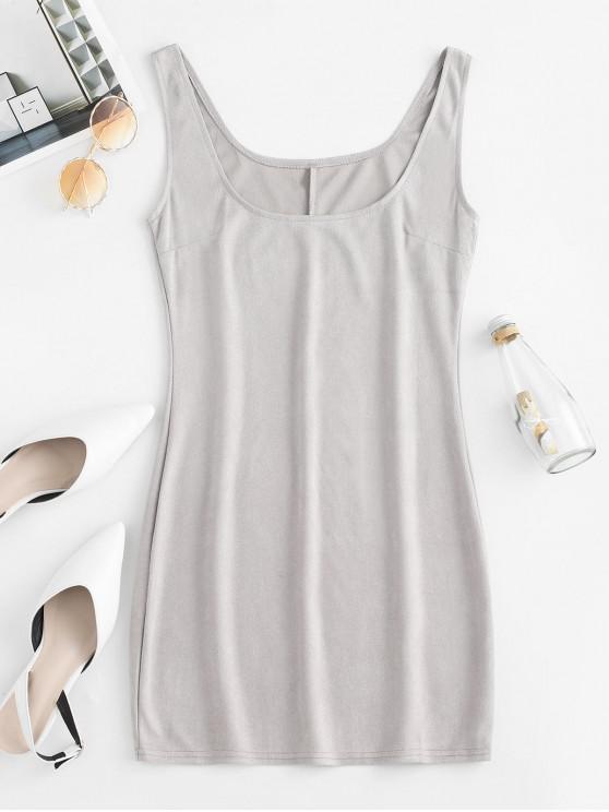 unique U Neck Sleeveless Mini Sheath Dress - GRAY M