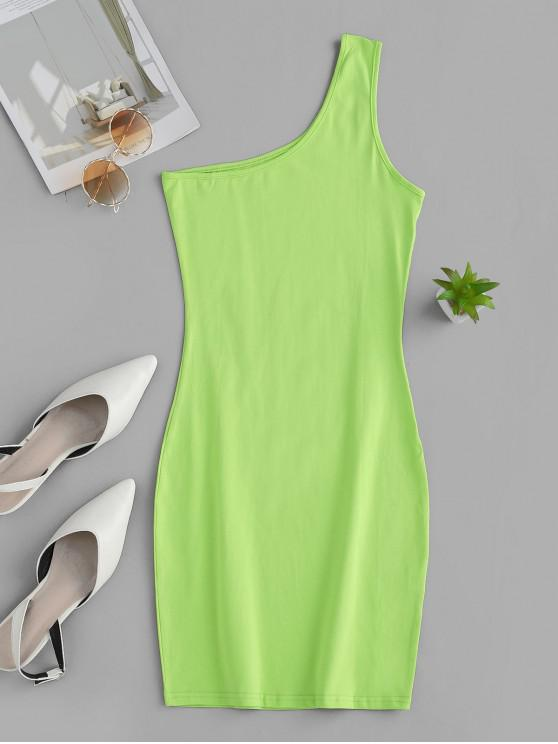 affordable One Shoulder Mini Bodycon Dress - CHARTREUSE L