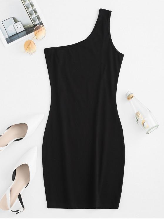 單肩迷你緊身連衣裙 - 黑色 M