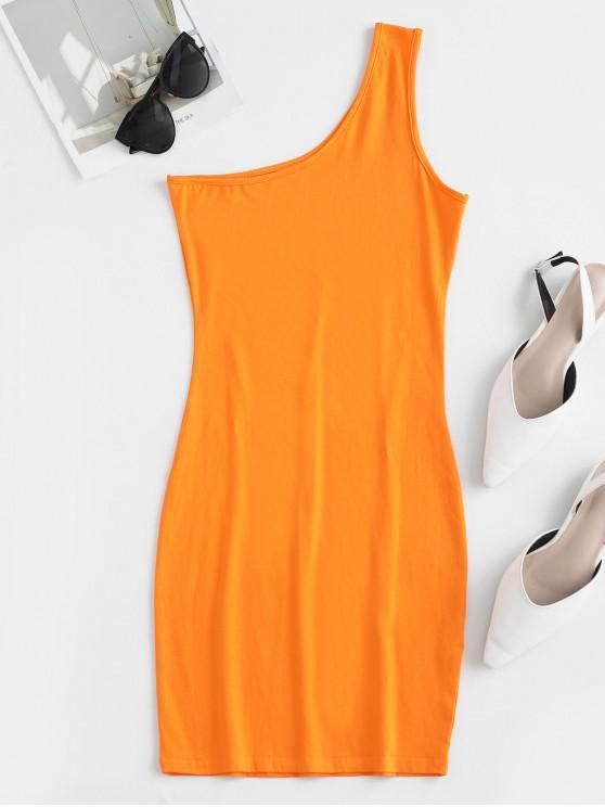 new One Shoulder Mini Bodycon Dress - PUMPKIN ORANGE M