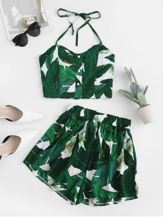 fashion Palm Smocked Back Button Embellished Halter Shorts Set - WHITE L