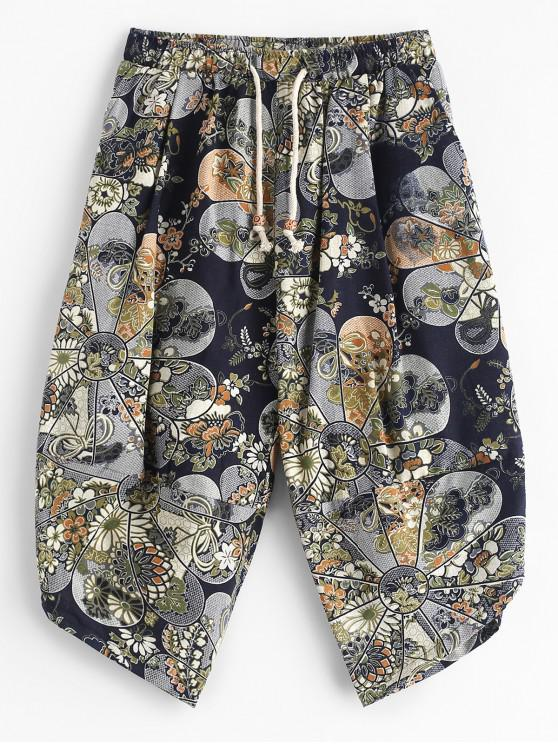 outfit Splicing Ethnic Tribal Flower Print Cropped Pants - MULTI XS