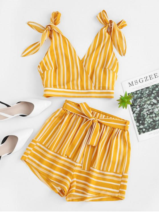 sale ZAFUL Striped Belted Tie Shoulder Shorts Set - YELLOW S