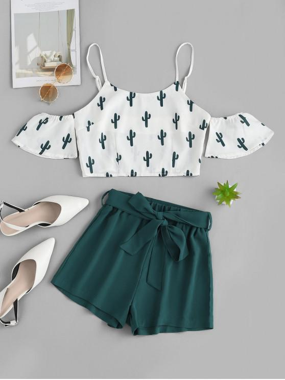 women's ZAFUL Cold Shoulder Cactus Print Top And Shorts Set - WHITE S