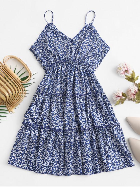 sale Empire Waist Ruffles Tiny Floral Cami Dress - CADETBLUE M