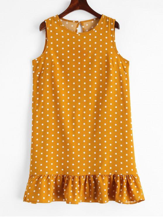 latest Keyhole Ruffles Polka Dot Mini Dress - BEE YELLOW XL