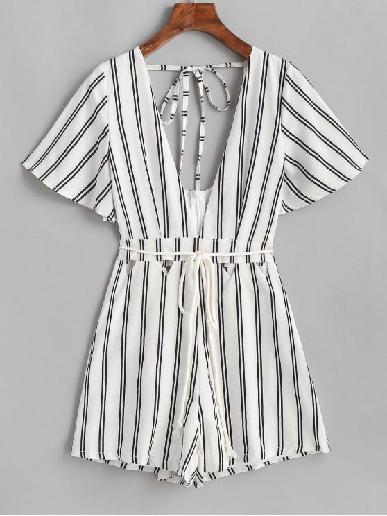 unique Belted Open Back Cut Out Stripes Romper - WHITE S