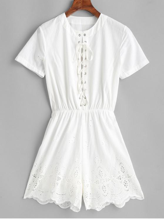 new Eyelet Scalloped Lace Up Romper - WHITE L