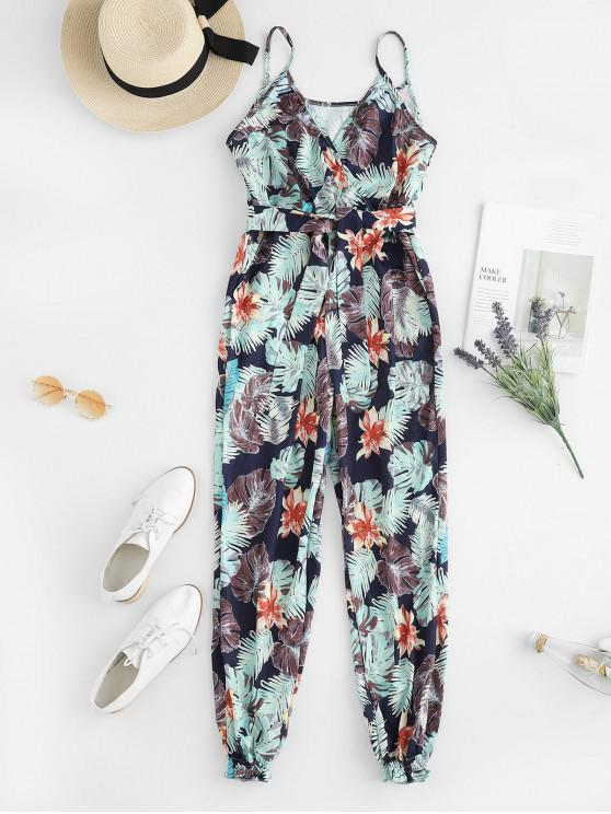 women's Floral Leaves Print Belted Jogger Jumpsuit - DEEP BLUE S