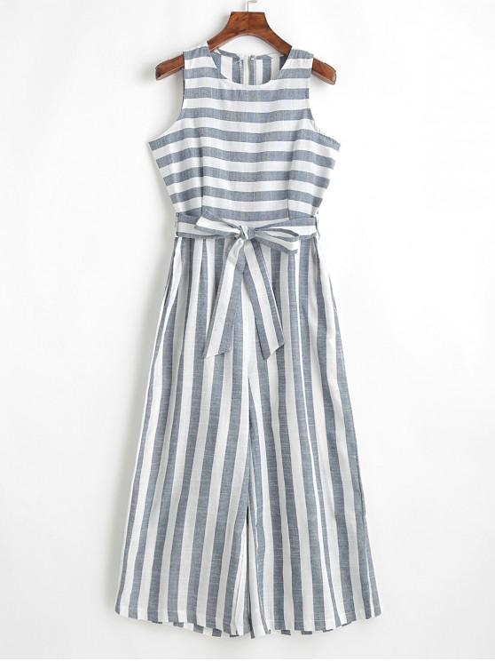 latest Sleeveless Belted Stripes Wide Leg Jumpsuit - BLUE GRAY L