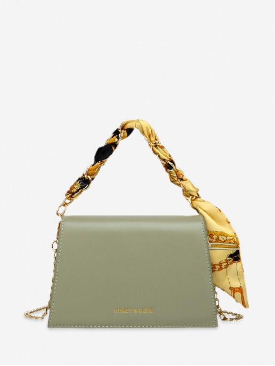 กระเป๋าสะพายประดับผ้าพันคอ - Dark Sea Green