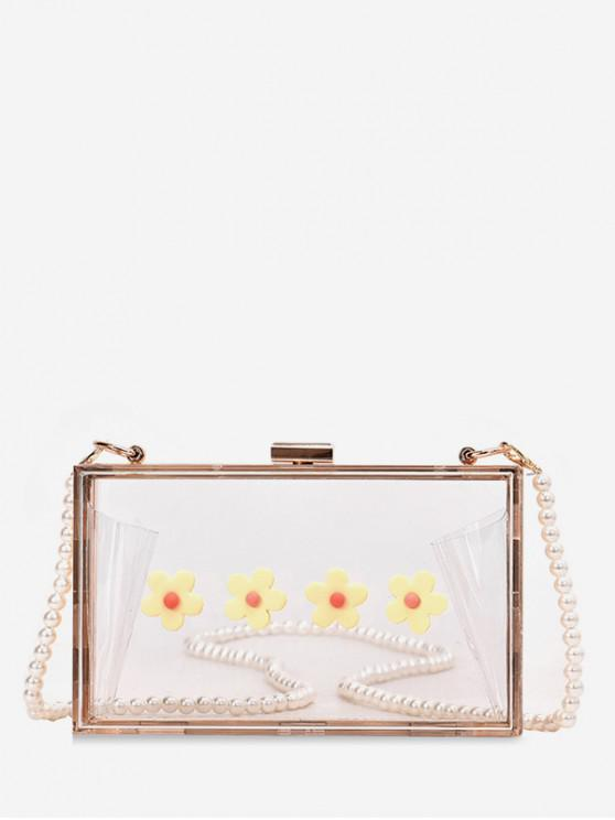 online Flower Artificial Pearl Crossbody Bag - YELLOW