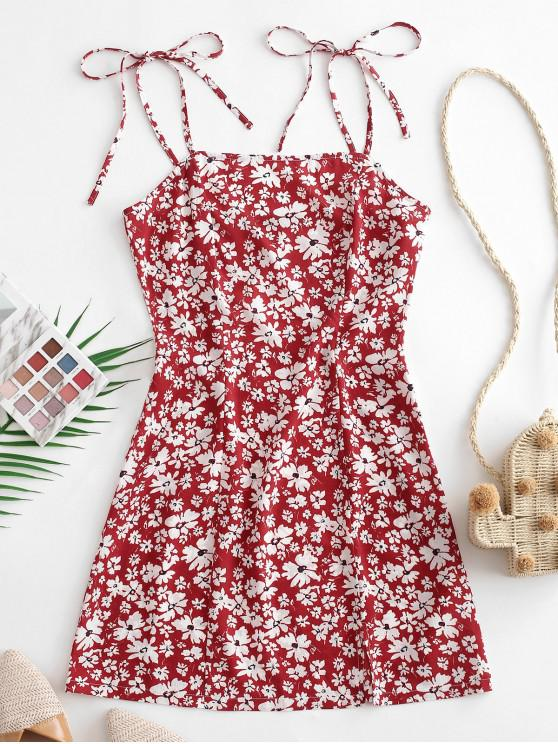 outfit ZAFUL Floral Tie Shoulder Cami Dress - RED WINE L