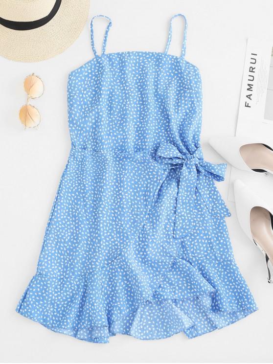 重疊荷葉邊雨滴印花Cami連衣裙 - 藍色 L