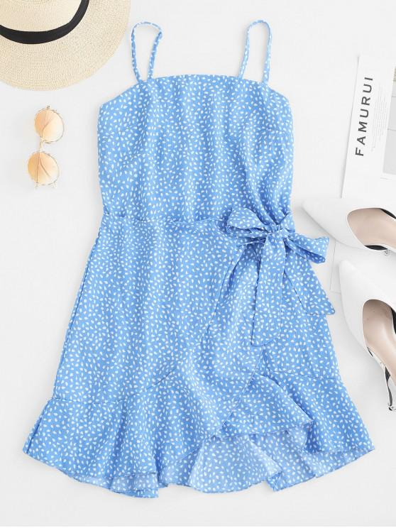 outfits Overlap Ruffles Raindrop Print Cami Dress - BLUE M
