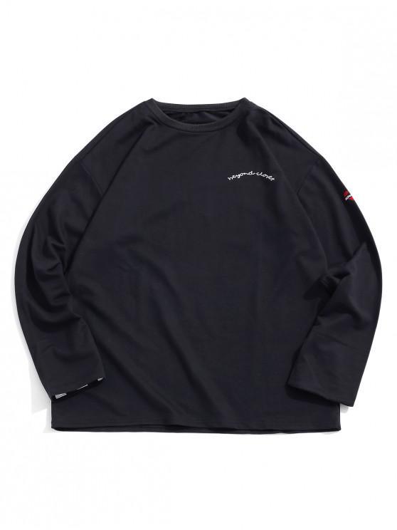 fancy Letter Embroidery Heart Print Striped Sleeves Sweatshirt - BLACK S