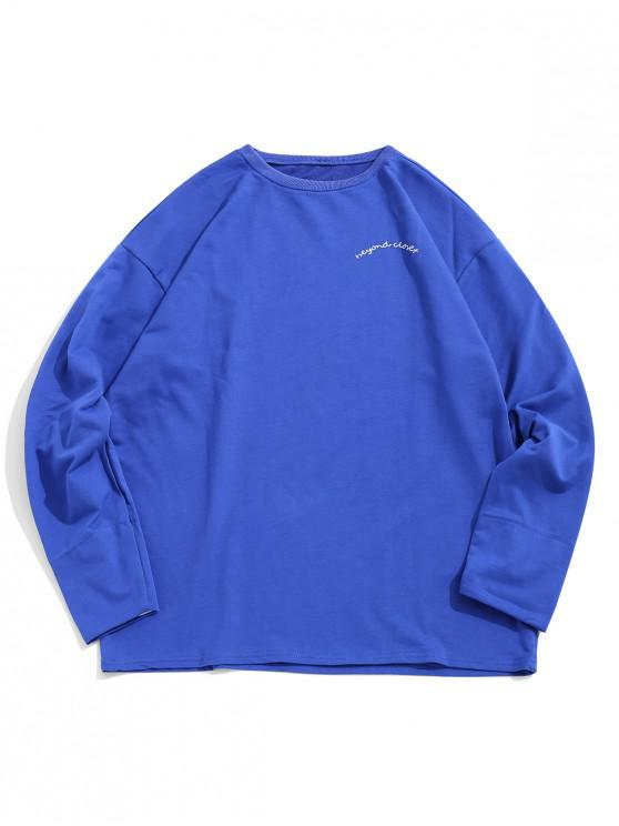 latest Letter Embroidery Heart Print Striped Sleeves Sweatshirt - BLUE XL