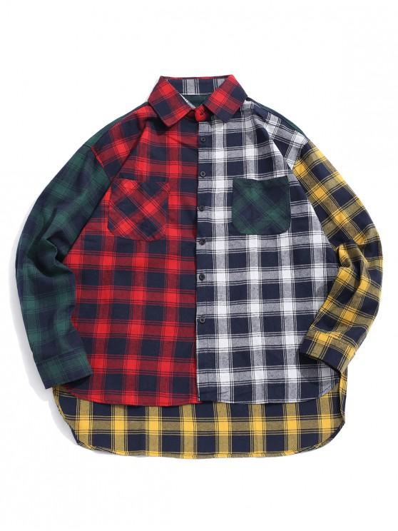 unique Plaid Print Spliced High Low Button Shirt - RED XL