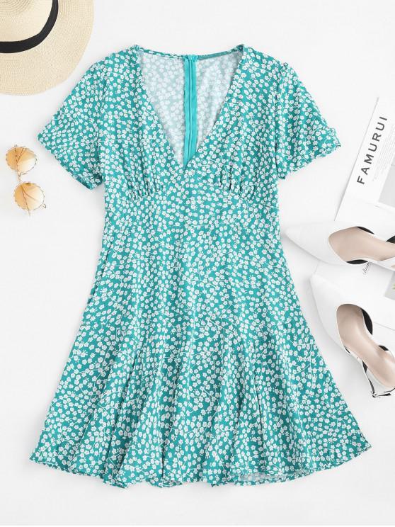 fashion Gathered Sleeve Floral A Line Mini Dress - GREEN L