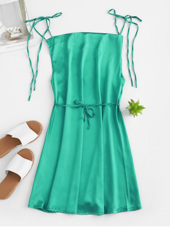 online Tie Straps Mini Satin Dress - DARK TURQUOISE S
