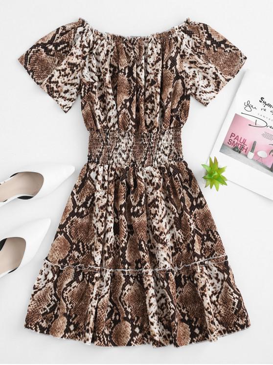 hot Off Shoulder Snake Print Mini Dress - MULTI L