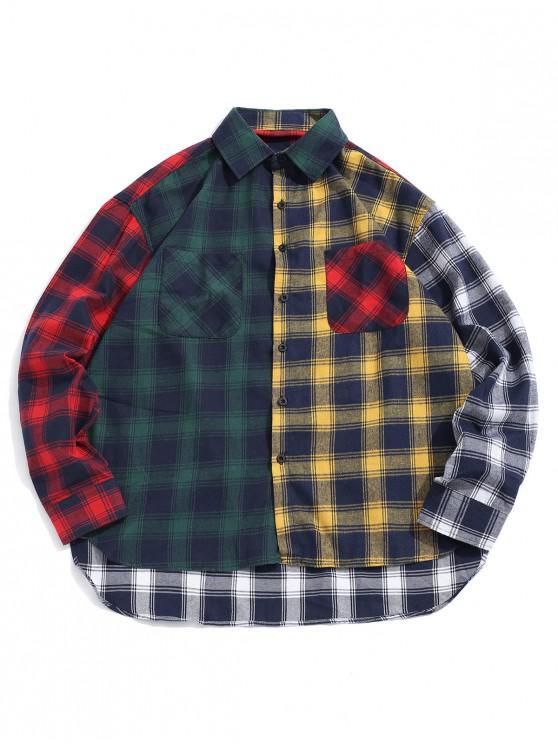 unique Plaid Print Spliced High Low Button Shirt - GREEN L