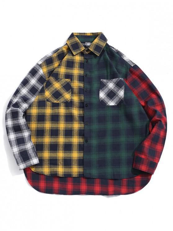 Camisa estampada a cuadros con botones bajos y altos - Marrón Dorado M