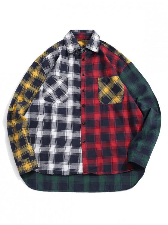 chic Plaid Print Spliced High Low Button Shirt - BLACK M