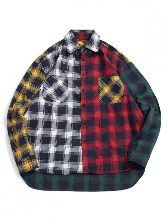 sale Plaid Print Spliced High Low Button Shirt - BLACK 2XL