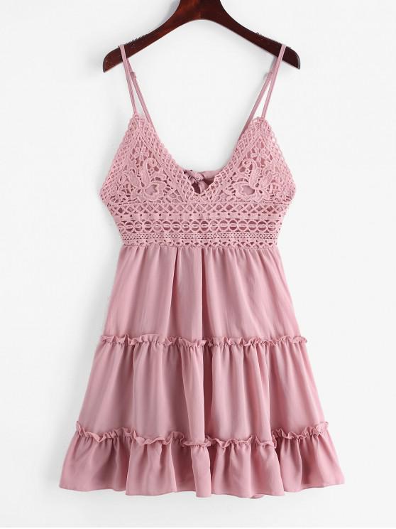 打結後背鉤針編織面料喇叭形Cami連衣裙 - 口紅粉紅色 S