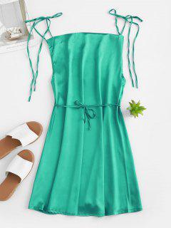 Mini Robe à Bretelle Nouée En Satin - Turquoise Foncée S