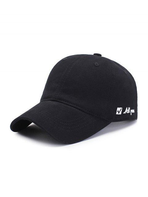 Вышивка буквы Графическая Бейсбольная Шляпа - Чёрный  Mobile