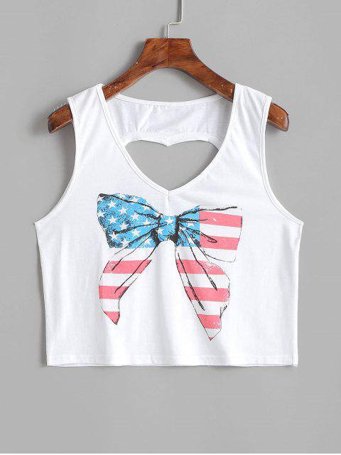 trendy Bowknot Heart Cut Out American Flag Tank Top - MILK WHITE S Mobile