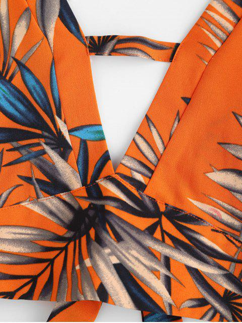 fashion ZAFUL Leaves Print Cut Out Crochet Trim Shorts Set - MULTI M Mobile