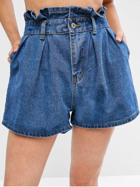 sale Pockets Jean Paperbag Shorts - DENIM BLUE XL Mobile