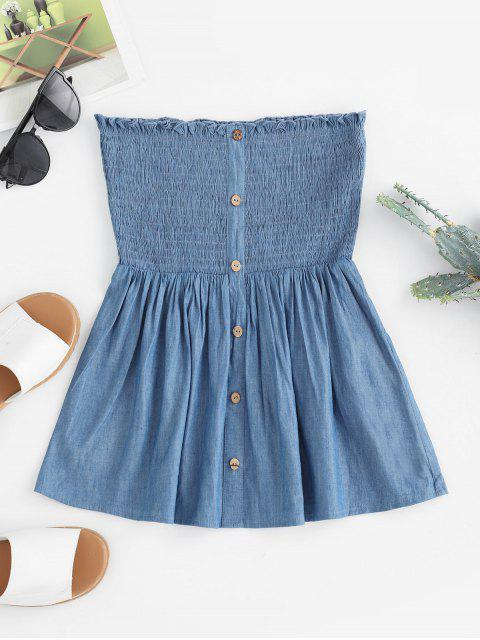 shops ZAFUL Chambray Smocked Button Embellished Strapless Top - DENIM BLUE L Mobile