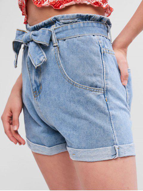 women's Belted Cuffed Denim Paperbag Shorts - DENIM BLUE S Mobile