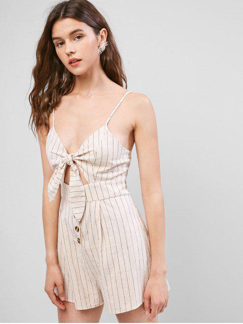 sale ZAFUL Striped Print Cut Out Knot Front Romper - APRICOT M Mobile