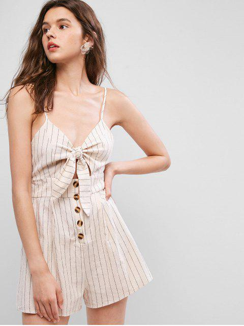 online ZAFUL Striped Print Cut Out Knot Front Romper - APRICOT S Mobile