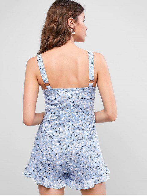 womens ZAFUL Ditsy Floral Flounce Backless Ruffled Romper - SEA BLUE M Mobile