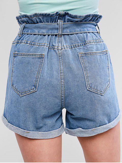 fancy Cuffed Destroyed Denim Paperbag Shorts - DENIM BLUE M Mobile