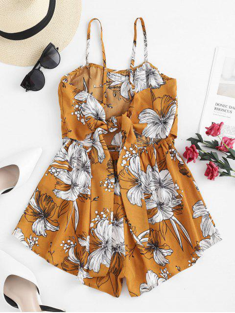 buy ZAFUL Flower Print Twisted Knotted Tube Romper - BEE YELLOW S Mobile