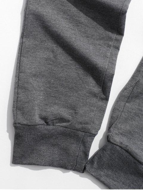 Pantalon de Jogging en Couleur Unie avec Poche à Rabat - Gris Foncé 3XL Mobile