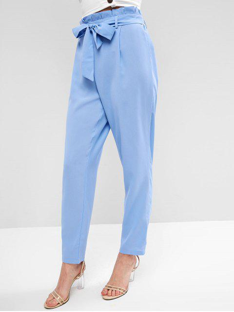 hot Straight Belted Paperbag Pants - LIGHT BLUE S Mobile
