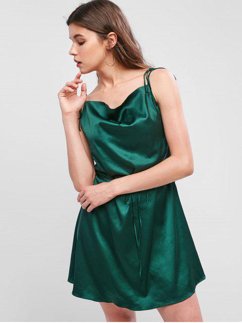 chic ZAFUL Spaghetti Strap Satin Tie Shoulder Mini Dress - DARK FOREST GREEN S Mobile